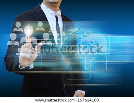 Businessman touch icon of social network - stock photo
