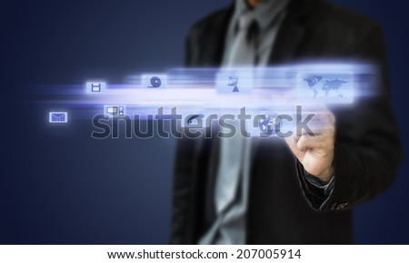 Businessman touch screen icon