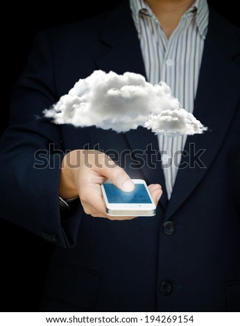 Businessman touch screen mobile phone to display cloud computer and technology, Design concept of technology and communication  - stock photo