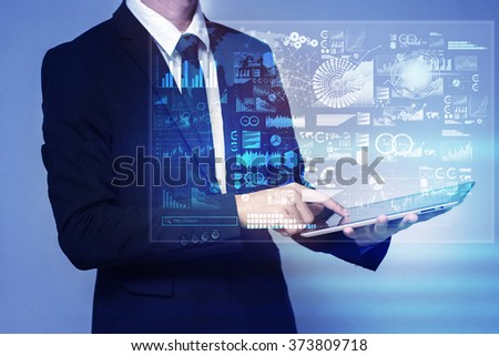 businessman touch screen on tablet