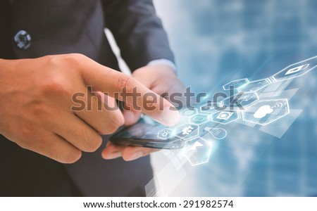 businessman touch social media,social network concept. - stock photo