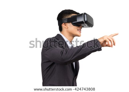 businessman touch the finger on virtual reality helmet. VR glasses, on white isolated background - stock photo