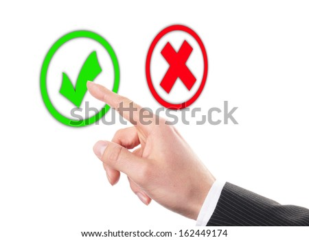businessman touches of the button right in front of white background - stock photo