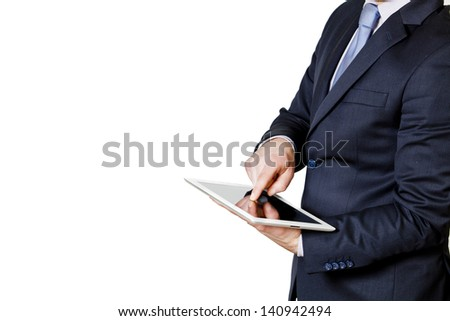 businessman touches the tablet with finger on the on the right side isolated on a white background - stock photo