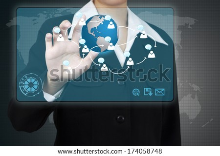 Businessman touching a social network on virtual screen. Concept of business communication. - stock photo