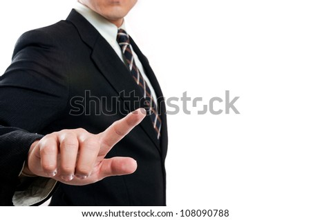 businessman touching and select concept with clipping path