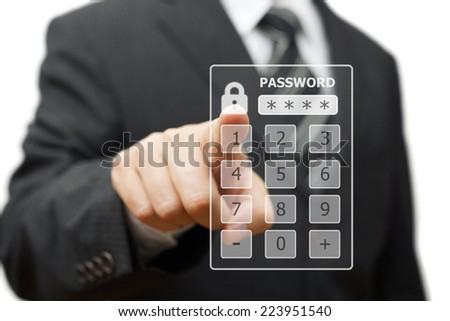 businessman touching   authorization interface window with a password on a virtual screen - stock photo
