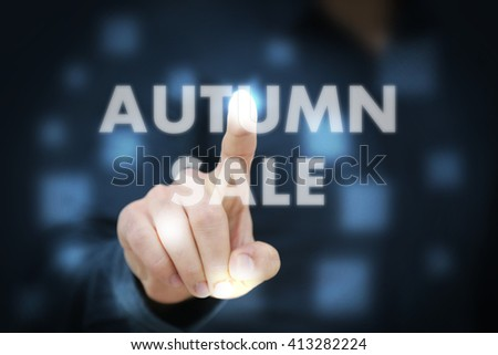 Businessman touching Autumn Sale - stock photo