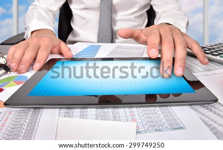 businessman touching blank digital tablet, close up