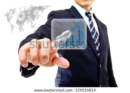 Businessman touching button for order order something - stock photo
