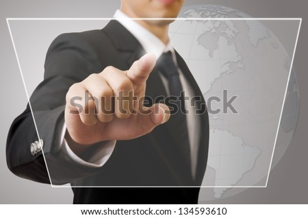 Businessman Touching button on the whiteboard, Selective focus on the finger.