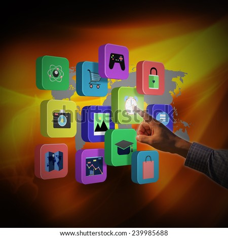 Businessman touching colorful application icons - stock photo