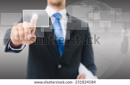 Businessman Touching Computer Icons, For Business and Technology Concept, Isolated on the white background.