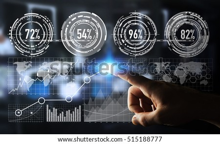 Businessman touching digital graph interface with his finger 3D rendering