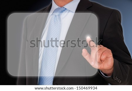 Businessman touching display