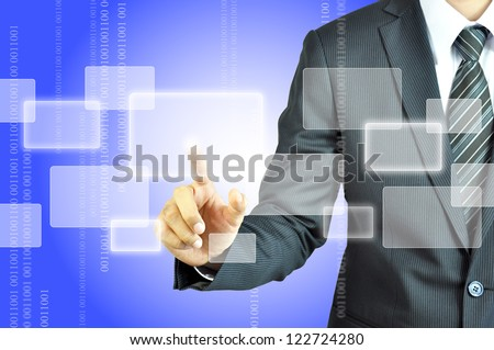 Businessman touching empty virtual screen