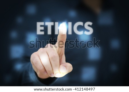 Businessman touching Ethics