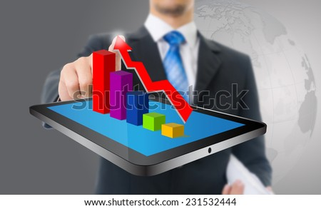 Businessman touching finance graph for trade stock market, isolated on the white background. - stock photo