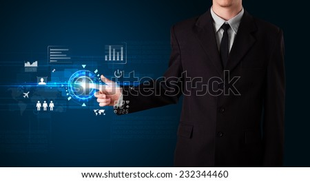 Businessman touching future web technology buttons and icons - stock photo