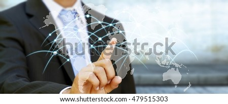 Businessman touching global network and data exchanges over the world 3D rendering
