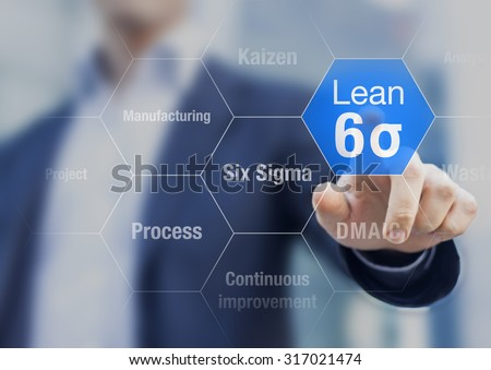 Businessman touching lean six sigma button for improved manufacturing - stock photo