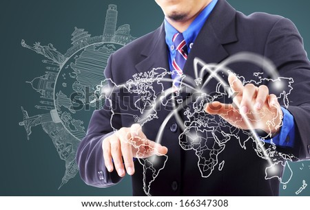 Businessman touching network line fo travel in the world