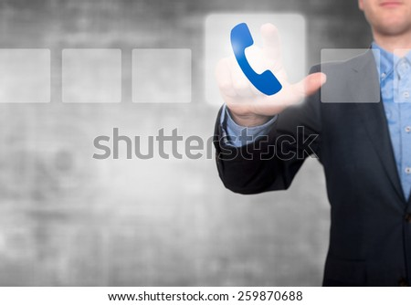 Businessman Touching Phone Button and Ticking Check Box - stock photo