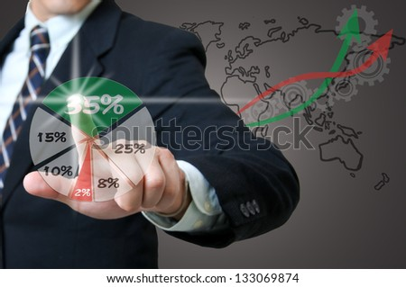 Businessman touching red graph with white background - stock photo