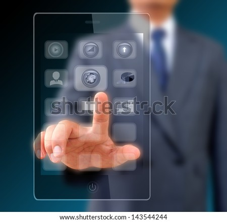 Businessman touching screen on modern mobile smart phone - stock photo
