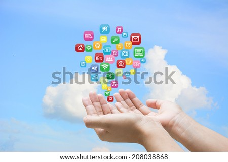 Businessman touching social network icon  - stock photo