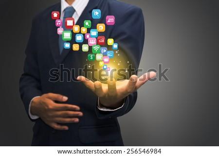 Businessman touching social network icon  - stock photo