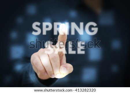 Businessman touching Spring Sale - stock photo