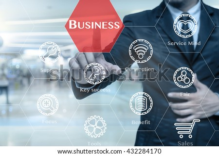 Businessman touching the Business icon with business success tools on the Abstract blurred photo of store in department store bokeh background, Business technology concept  - stock photo