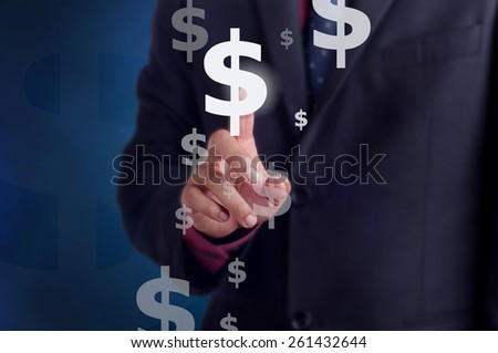 Businessman touching the dollar sign on virtual screen: Infographic design