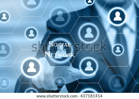 Businessman touching the Social network icon, Business technology concept  - stock photo