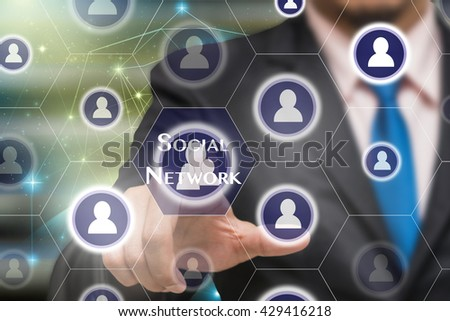 Businessman touching the Social network icon on Internet network concept background,Elements of this image furnished by NASA, Business technology concept  - stock photo