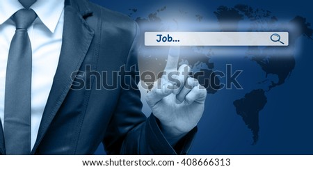"Businessman touching the virtual searching bar with ""Job"", Internet concept,Elements of this image furnished by NASA"