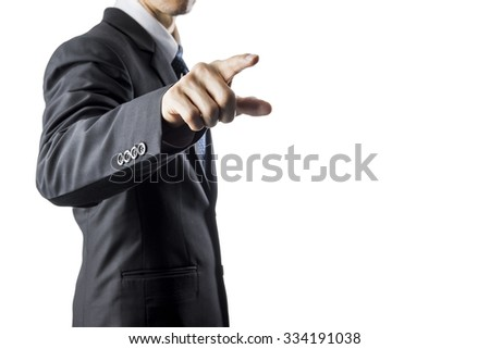 Businessman Touching Transparent Screen