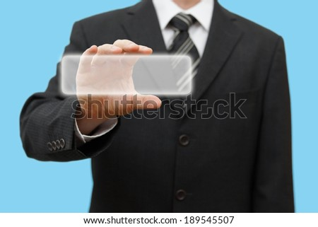 businessman touching virtual box or contact card. Ready for sample text