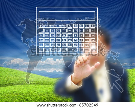 Businessman touching virtual screen on nature background.