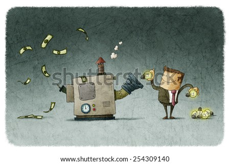 Businessman transforms ideas for money in a machine - stock photo
