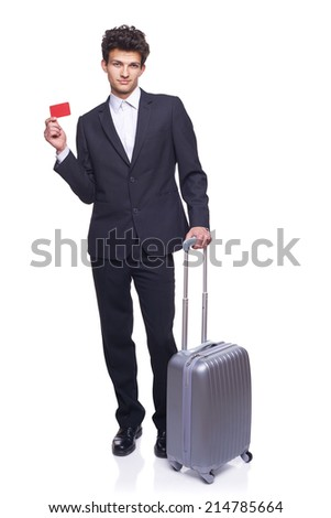 Businessman traveling showing empty blank paper card sign with copy space for text, over white - stock photo