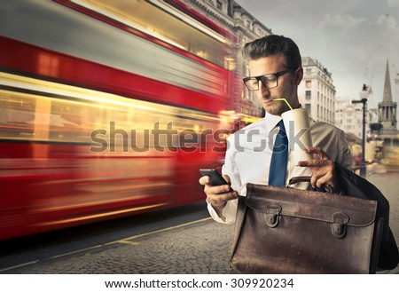 Businessman travelling for work - stock photo
