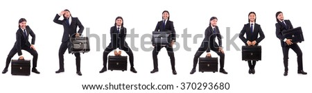 Businessman travelling isolated on white