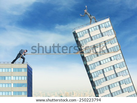 Businessman tries to push down businesswoman - stock photo