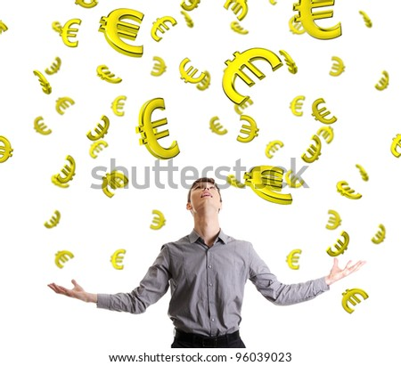 Businessman trying to catch falling down euros. Isolated on white background.
