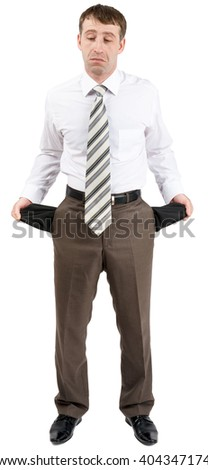 Businessman turned out his pockets - stock photo