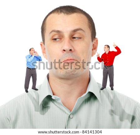 Businessman undecided which of his elf businessmen advice to follow - stock photo