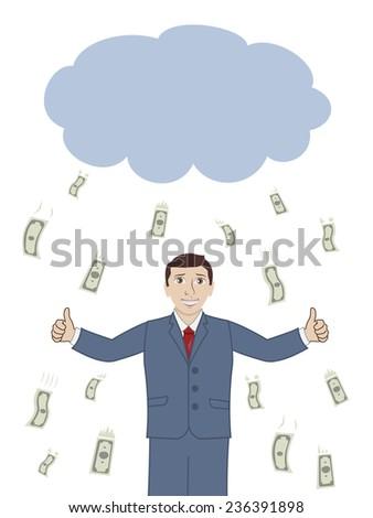 businessman under the rain of money  - stock photo
