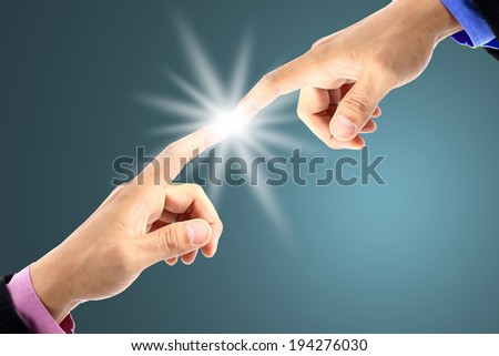 Businessman use fingers touching for good connection
